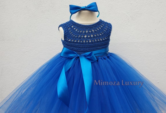 Royal Blue Flower girl dress, Peacock blue tutu dress, royal blue bridesmaid dress, royal blue princess dress, crochet top tulle dress