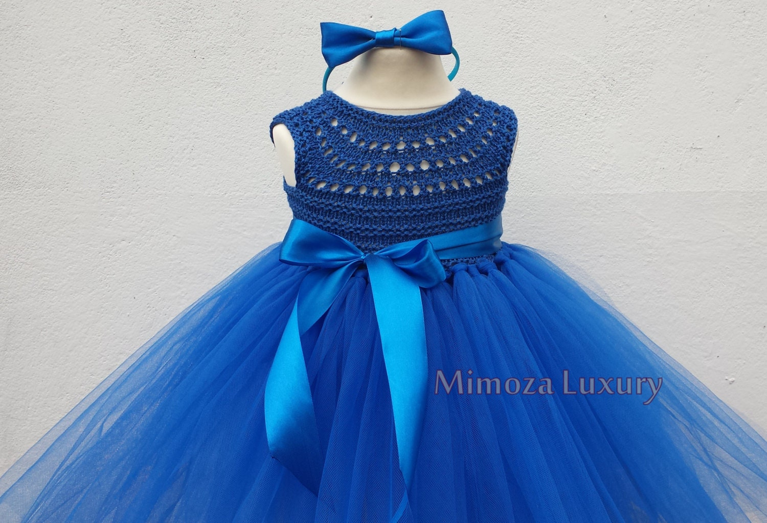 90bc3090d175 Royal Blue Flower girl dress, Peacock blue tutu dress, royal blue  bridesmaid dress, royal blue princess dress, crochet top tulle dress.  gallery photo ...