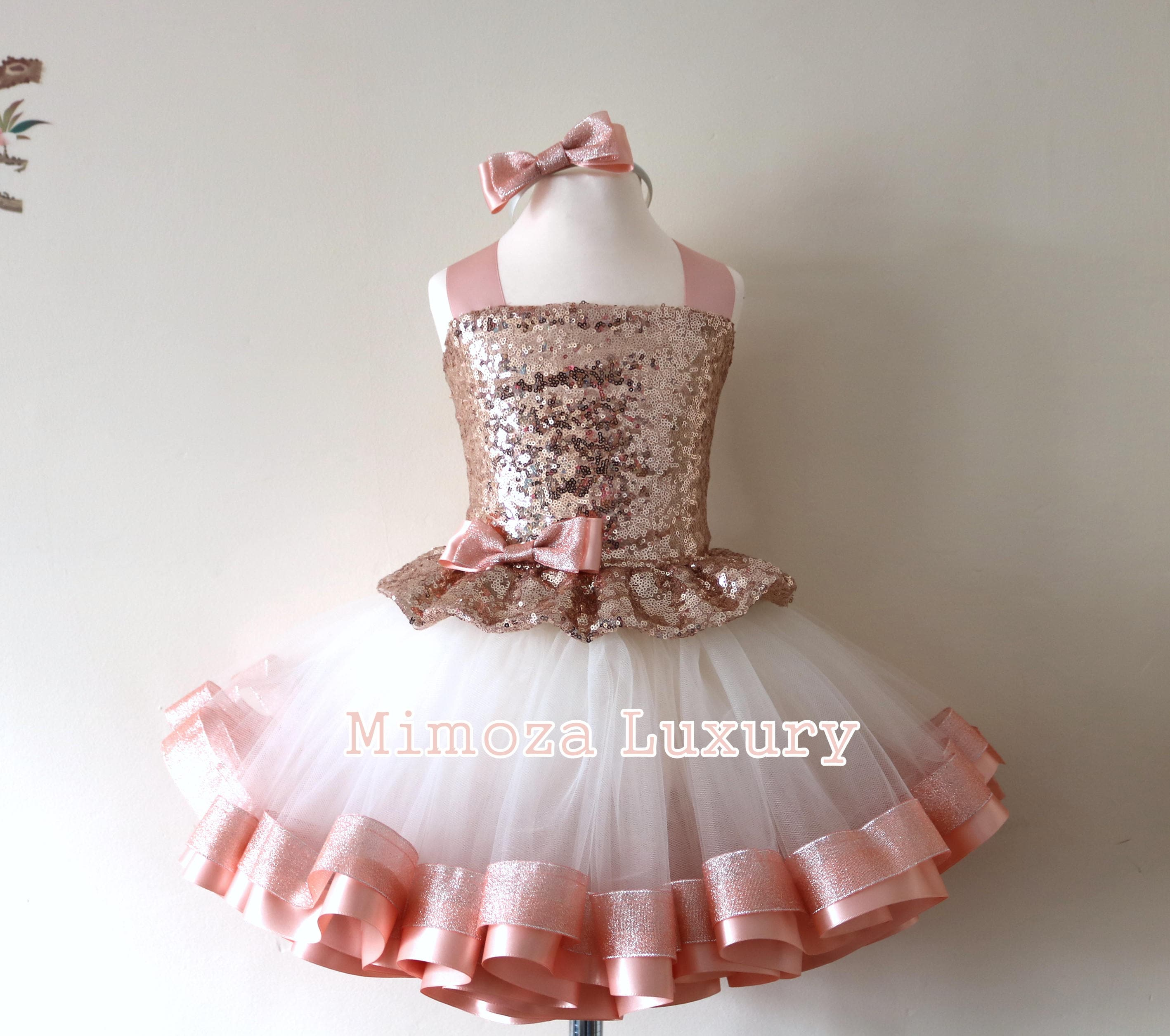 Luxury Rose Gold Birthday Outfit Girls Dress Baby Girl Tutu Princess 1st Infant