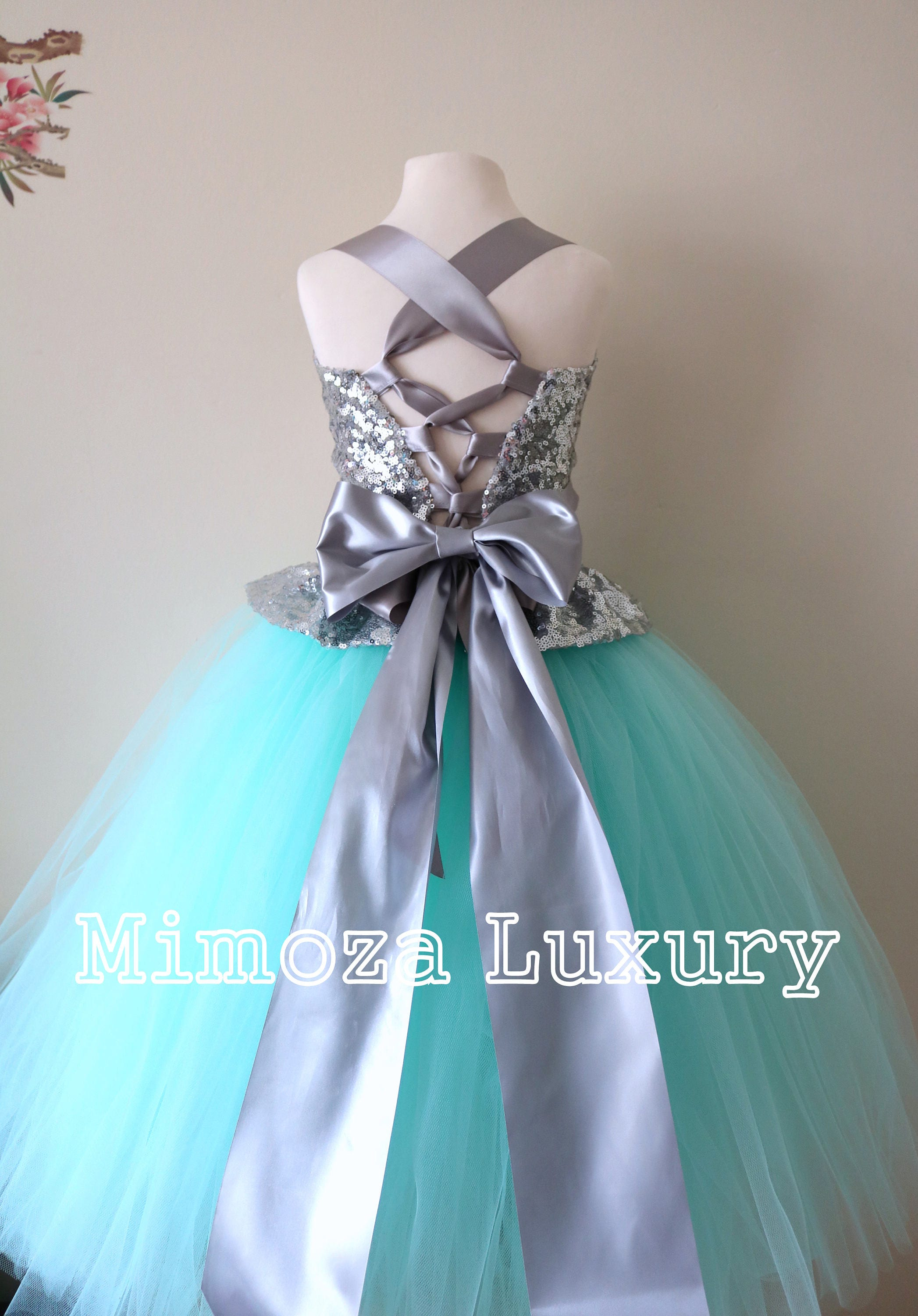 d810c8301 Mint & Silver Flower Girl Dress, mint bridesmaid dress, couture flower ...