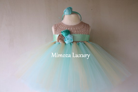Mint baby girl tutu dress