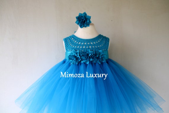 Petrol blue girls tutu dress