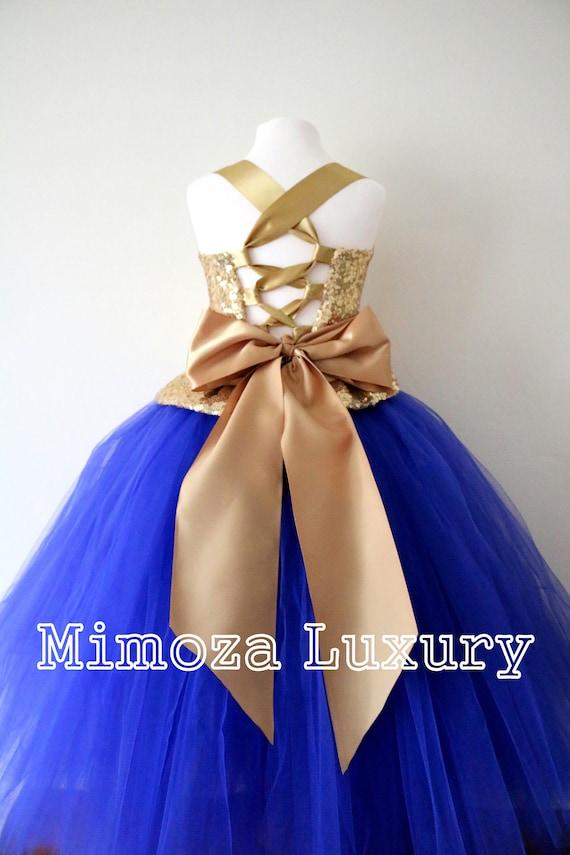Gold Royal Blue Flower Girl Dress Gold Bridesmaid Dress Etsy