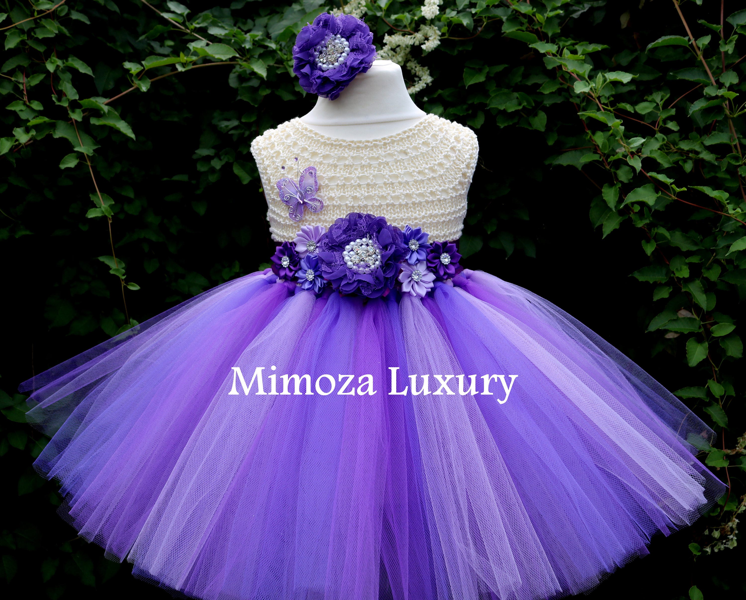 Purple Lavender Flower Girl Dress Cream Purple Birthday Dress