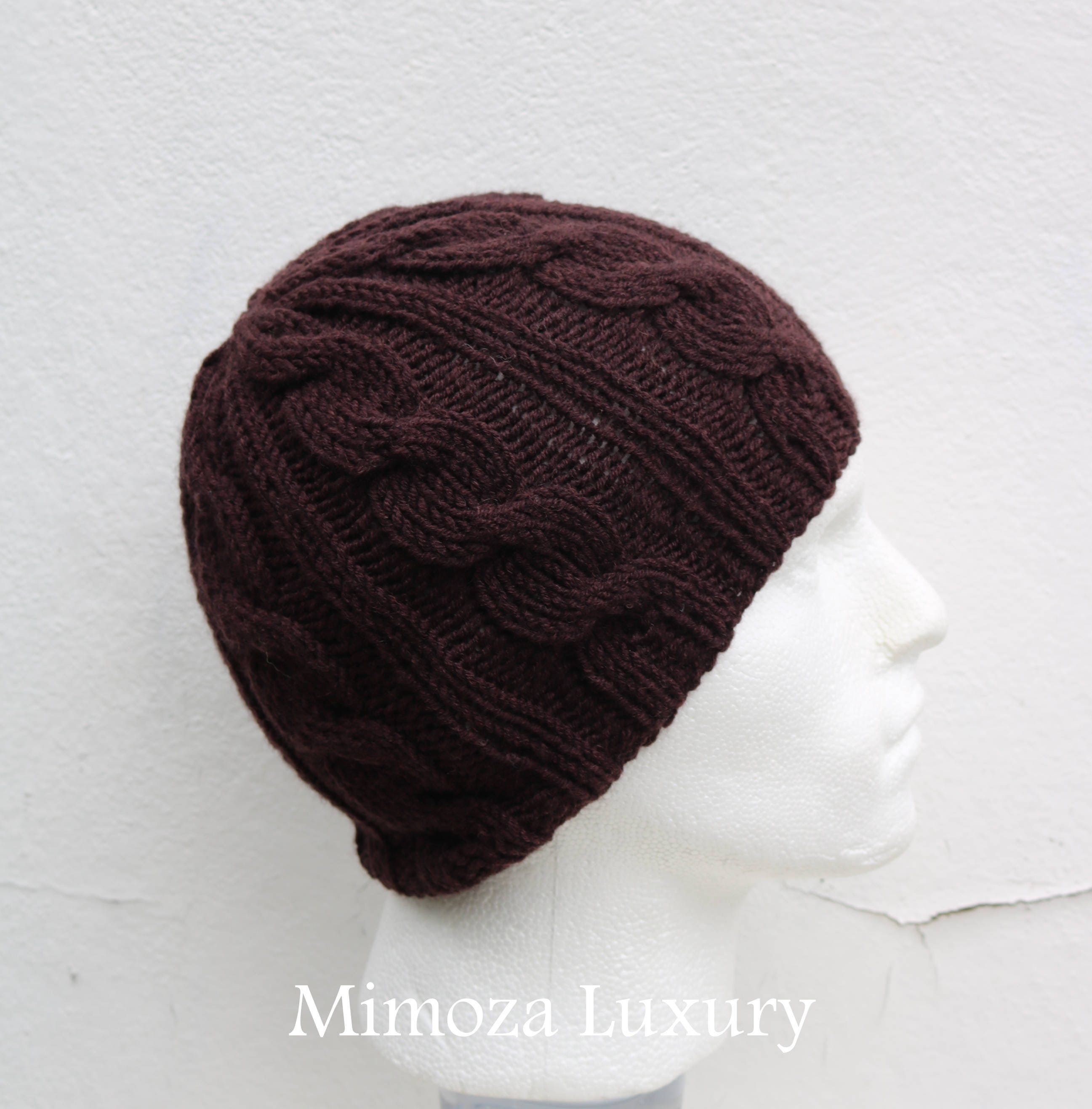 c6d0695ba Chocolate Brown Men's Beanie hat, Hand Knitted Hat in brown beanie ...