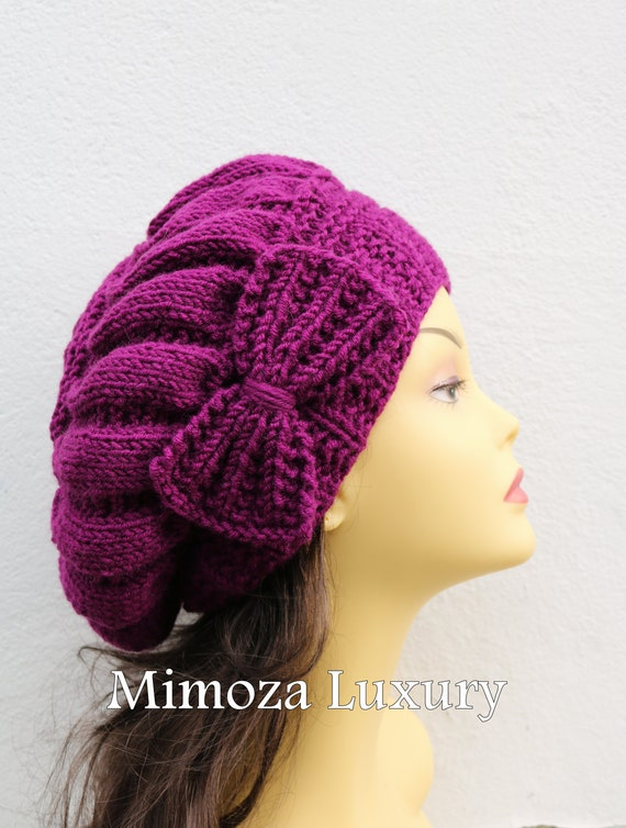 Orchid Purple Woman Hand Knitted Hat with Bow, Beret hat with bow, purple knit hat, slouchy knit women's hat with bow, winter hat, grape