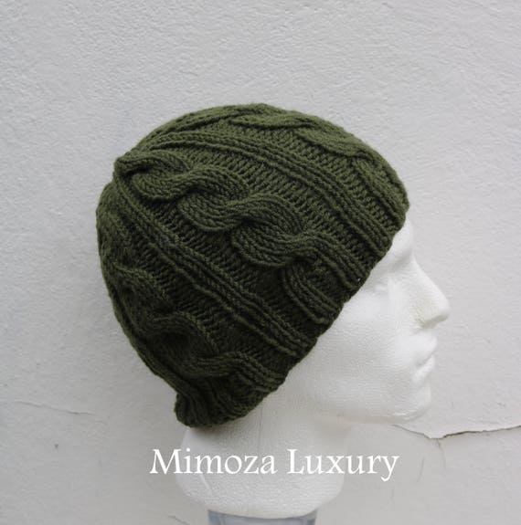 Olive Green Men's Beanie hat, Hand Knitted Hat in olive green beanie hat, knitted men's, women's beanie hat, winter beanie, green ski hat