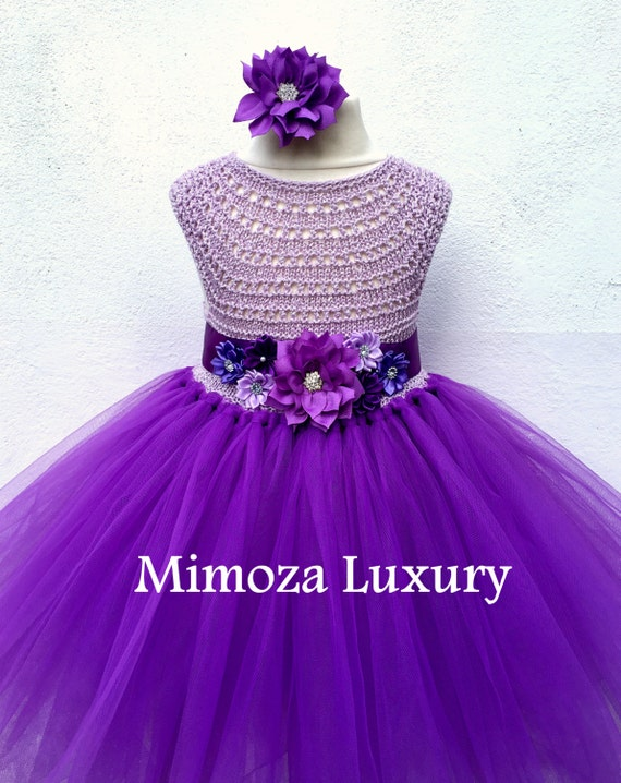 Purple Flower girl dress, purple tutu dress, bridesmaid dress, purple princess dress, crochet top tulle dress, hand knit top tutu dress