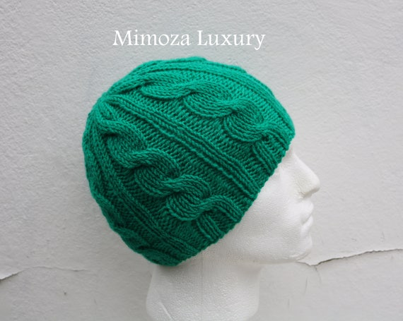 Emerald Green Men's Beanie hat, Hand Knitted Hat in jade green beanie hat, knitted men's, women's beanie hat, winter beanie, green ski hat