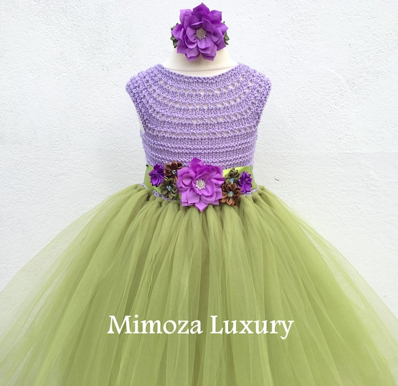 Woodland Fairy dress, woodland tutu dress, fairy princess dress, crochet top tulle dress, olive tutu dress