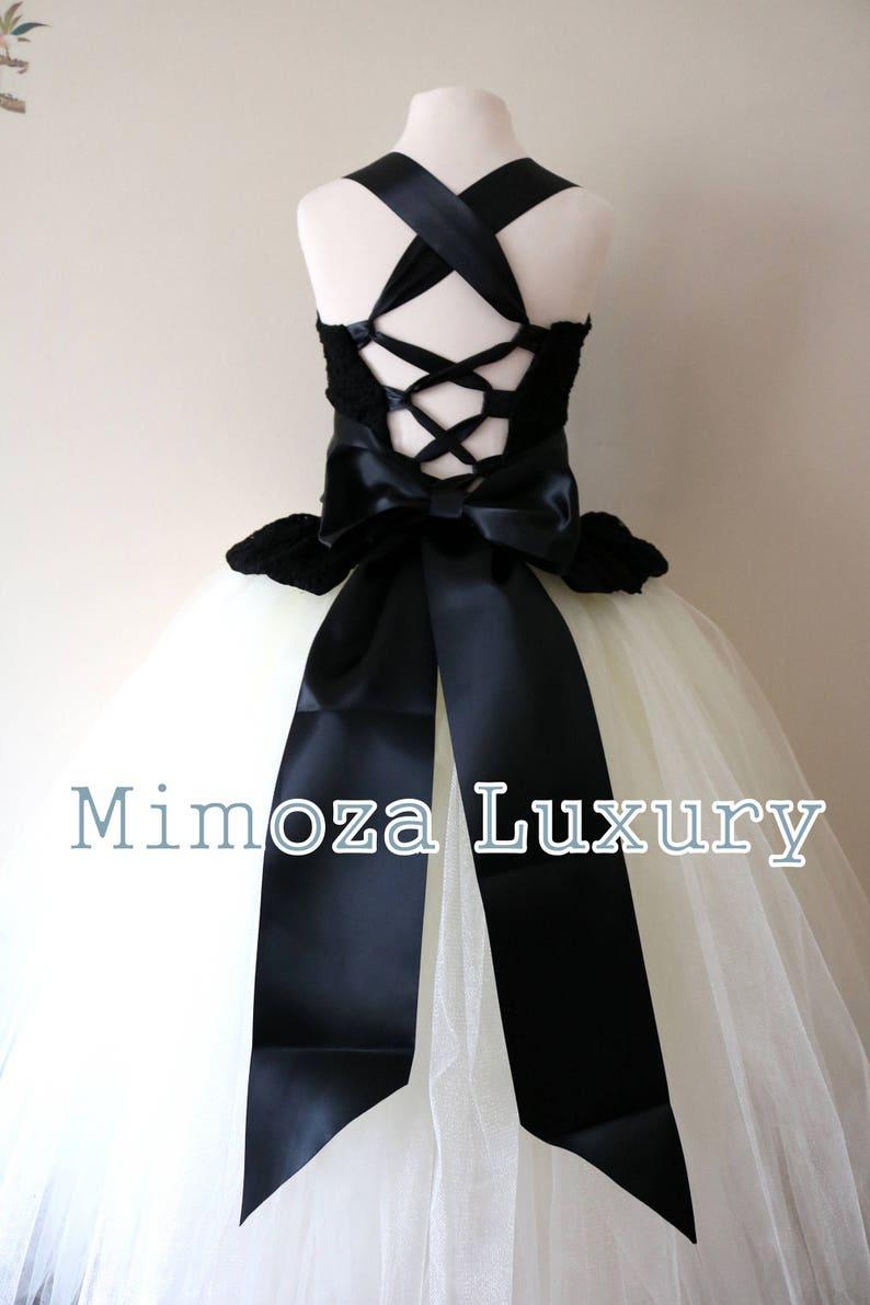 900e045e47b Black   Ivory Flower Girl Dress black lace bridesmaid dress