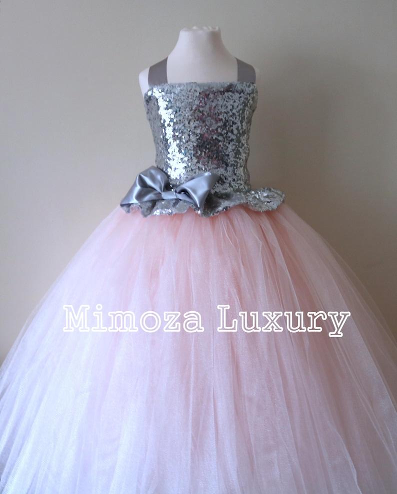 45cbeffd857 Blush   Silver Sequin Flower Girl Dress blush bridesmaid