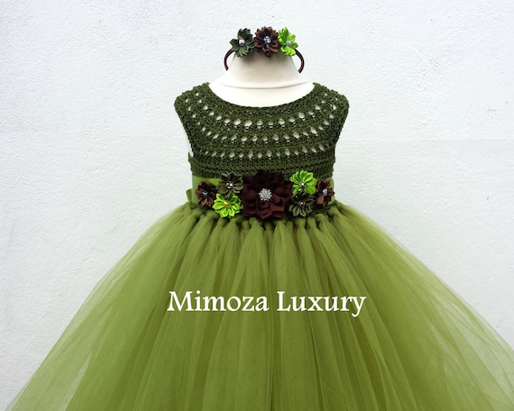 Olive Green Military Flower girl dress, khaki tutu dress, bridesmaid dress, princess dress, crochet top tulle dress, bottle yarn tutu dress