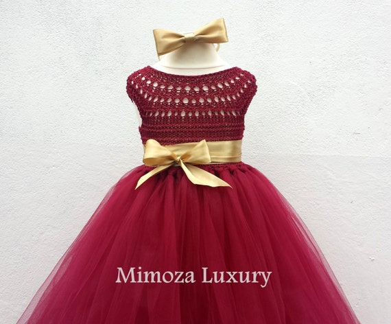 Burgundy Flower girl dress, Christmas tutu dress, bordo tutu dress, bridesmaid dress, princess dress, crochet top tulle dress, crimson dress