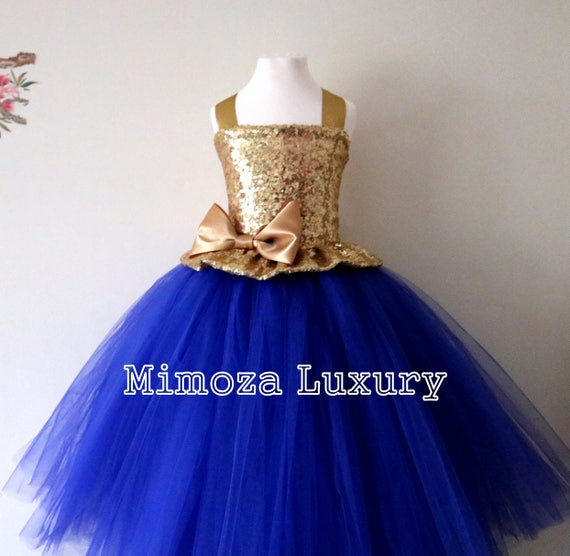 Gold \u0026 Royal blue Flower girl dress