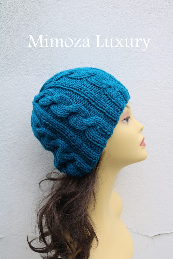 Petrol Blue women's Beanie hat, Hand Knitted Hat in teal blue beanie hat, knitted men's, women's beanie hat, winter beanie hat, blue ski hat