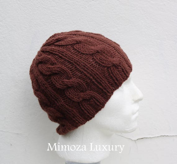 Milk Chocolate Men's Beanie hat, Hand Knitted Hat in brown beanie hat, knitted men's, women's beanie hat , brown winter beanie hat, ski hat