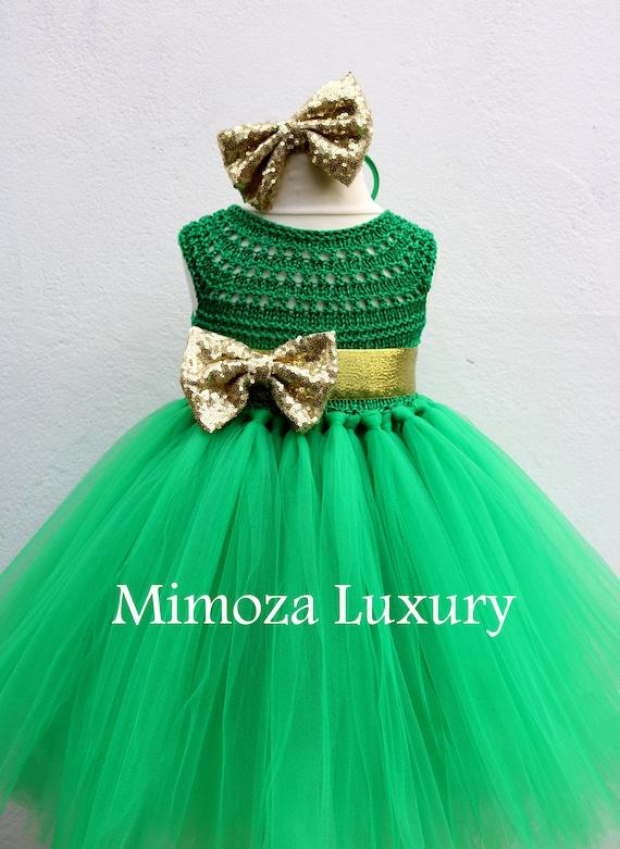 Christmas tutu dress, Christmas eve dress, Christmas green elf tutu dress, red green gold princess dress, emerald crochet top tulle dress
