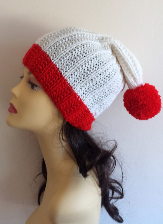 Christmas Hand Knitted Hat, Slouchy beanie hat, slouchy Santa hat , hand knit women men hat, chunky slouchy knitted hat for Christmas