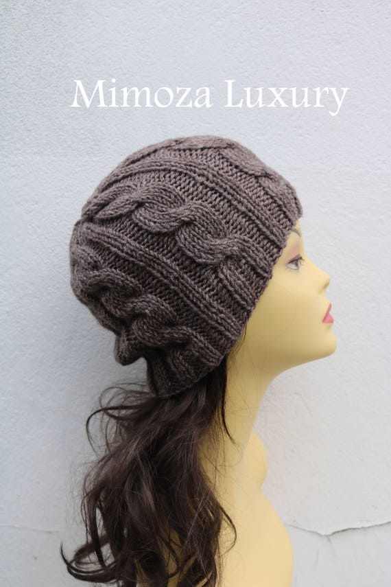 a97653383d1 Taupe Brown women s Beanie hat Hand Knitted Hat in brown