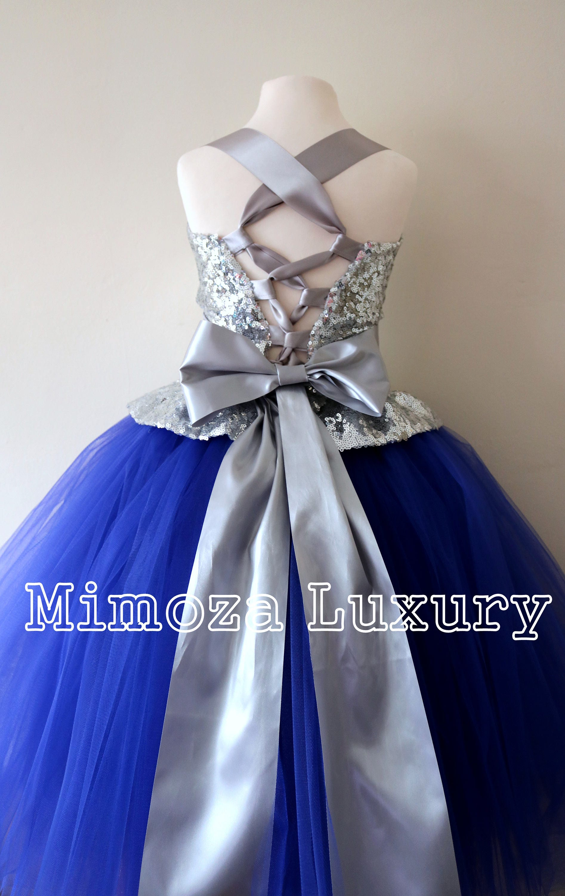 Silver Royal Blue Flower Girl Dress Silver Bridesmaid Dress Couture Flower Girl Gown Bespoke Girls Dress Tulle Princess Dress