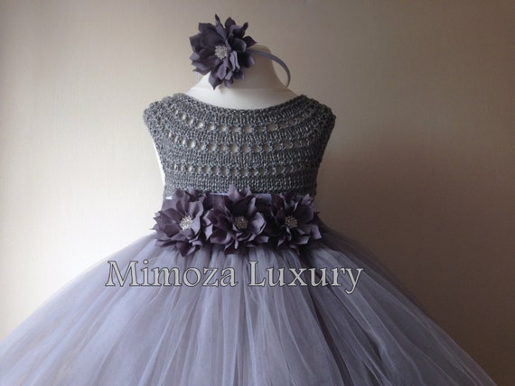 Grey Flower girl dress, grey tutu dress, grey bridesmaid dress, princess dress, silk crochet top tulle dress, hand knit silk top tutu dress,
