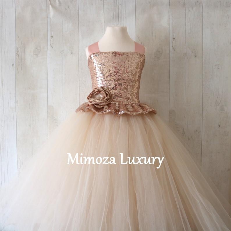 couture flower girl gown rose gold tutu Champagne Flower Girl Dress tulle princess dress rose gold bridesmaid dress bespoke girls dress
