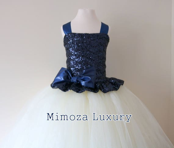 Navy & Ivory Flower Girl Dress, Navy bridesmaid dress, Navy couture flower girl gown, bespoke girls dress, tulle princess dress, Navy tutu