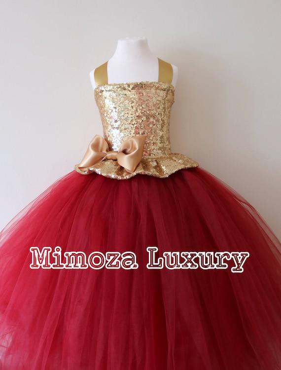 Gold Burgundy Flower Girl Dress Gold Bridesmaid Dress Etsy