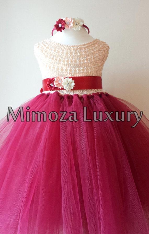 Flower girl dress, Christmas tutu dress, crochet tutu dress, bridesmaid dress, princess dress, silk crochet top tulle dress, hand knit silk