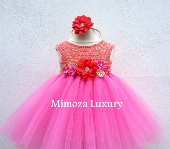 Birthday dress, peach pink 1st birthday tutu dress, bridesmaid dress, princess dress, crochet top tulle dress, hand knit tutu dress, luxury