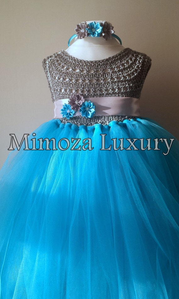 Turquoise Flower girl dress, turquoise tutu dress, sky blue bridesmaid dress, Turquoise princess dress, crochet top tulle dress