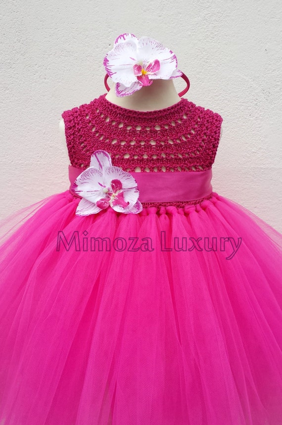 Magenta Fuchsia Orchid Flower girl dress, tutu dress, orchid bridesmaid dress, princess dress, crochet top tulle dress orchid wedding