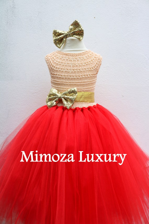 Red & Gold Flower girl dress, Christmas tutu dress, red gold tutu dress, red gold bridesmaid dress, gold princess dress
