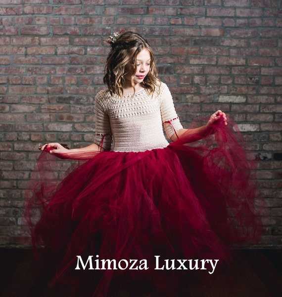Flower girl dress, Christmas tutu dress, long sleeve tutu dress, bridesmaid dress princess dress, crochet top tulle dress burgundy dress