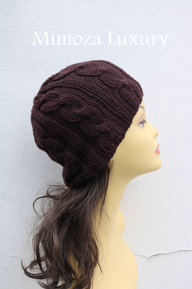 f2251744b18 Chocolate Brown women s Beanie hat Hand Knitted Hat in