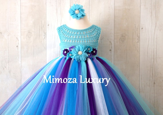 Turquoise Lavender girl dress, girl birthday dress, purple turquoise flower girl dress, blue princess dress, turquoise lilac tutu dress,