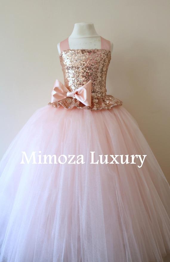 Blush Flower Girl Dress, rose gold bridesmaid dress, couture flower girl gown, bespoke girls dress, tulle princess dress, rose gold tutu