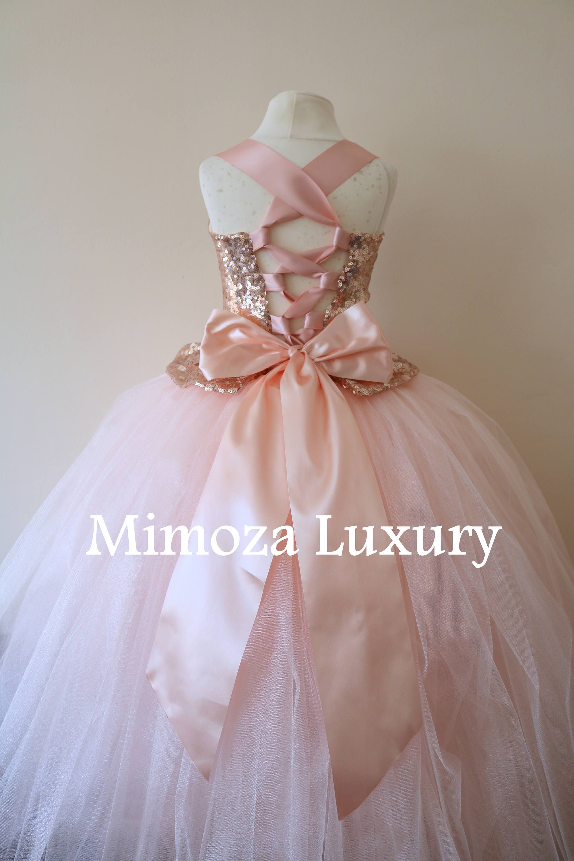 f27a136f180 Rose Gold Flower Girl Dress