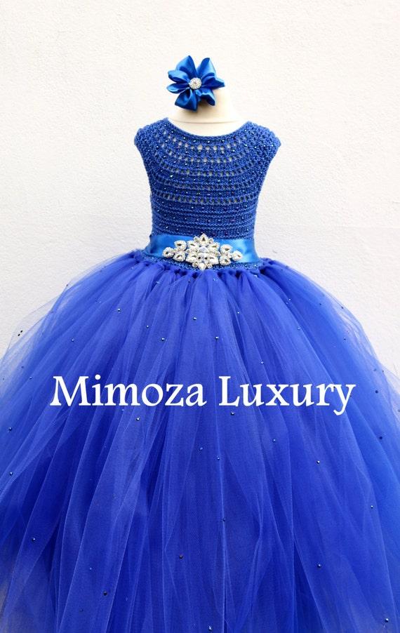 Royal Blue Deluxe Flower girl dress, Rhinestone sash Peacock blue tutu dress, royal blue bridesmaid dress, royal blue princess dress