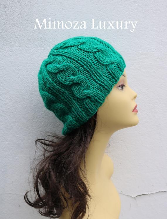 Emerald Green women's Beanie hat, Hand Knitted Hat in jade green beanie hat, knitted men's, women's beanie hat, winter beanie, green ski hat