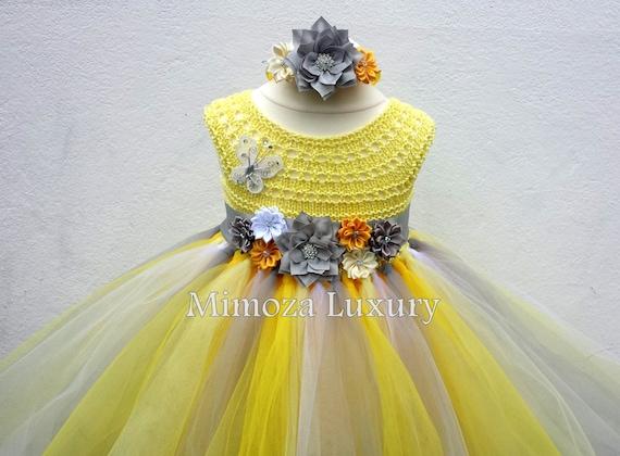 Yellow and Grey Flower girl dress, tutu dress bridesmaid dress, princess dress, silk crochet top tulle dress dress in yellow and gray