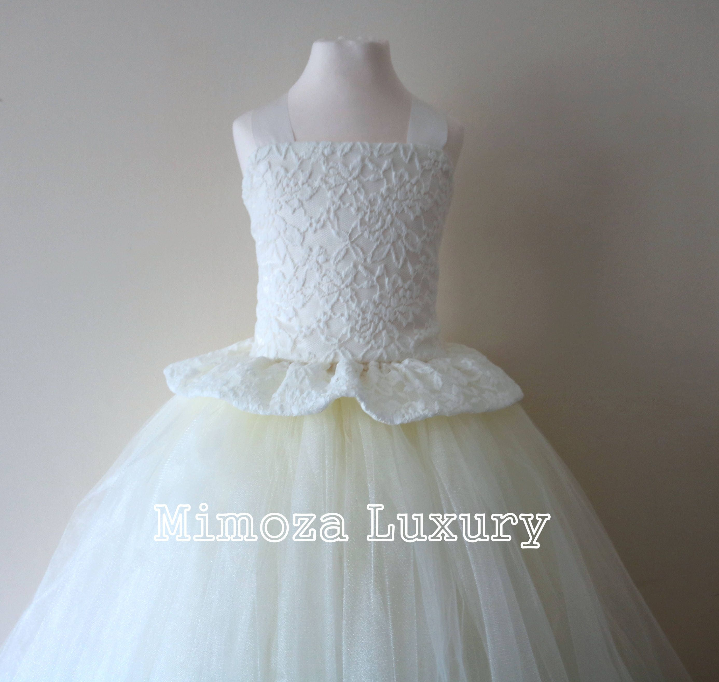0fdb0548f Ivory Lace Flower Girl Dress, Ivory bridesmaid dress, Ivory couture ...