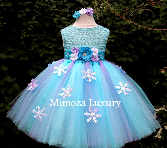 Frozen Elsa Princess Flower girl dress, turquoise tutu dress, sky blue bridesmaid dress, Elsa Frozen princess dress, crochet top tulle dress