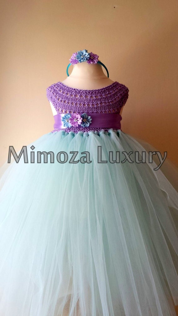 Flowergirl dress, tutu dress,bridesmaid dress, princess dress, silk crochet top tulle dress, hand knit silk top tutu dress