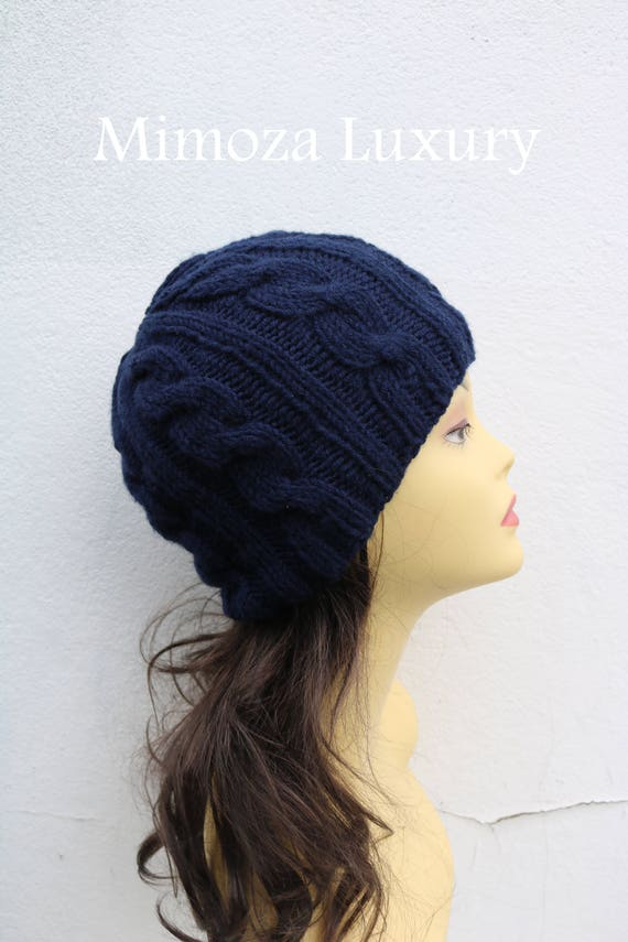 Navy women s Beanie hat Hand Knitted Hat in navy blue  955fd1b1f38