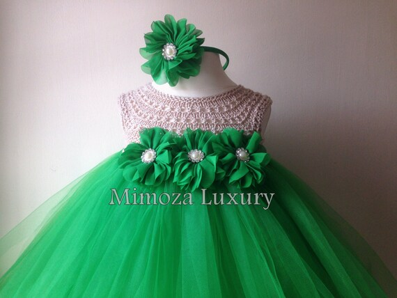 Emerald Green Flower girl dress, jade green tutu dress, bridesmaid dress, princess dress, crochet top tulle dress, yarn tutu dress