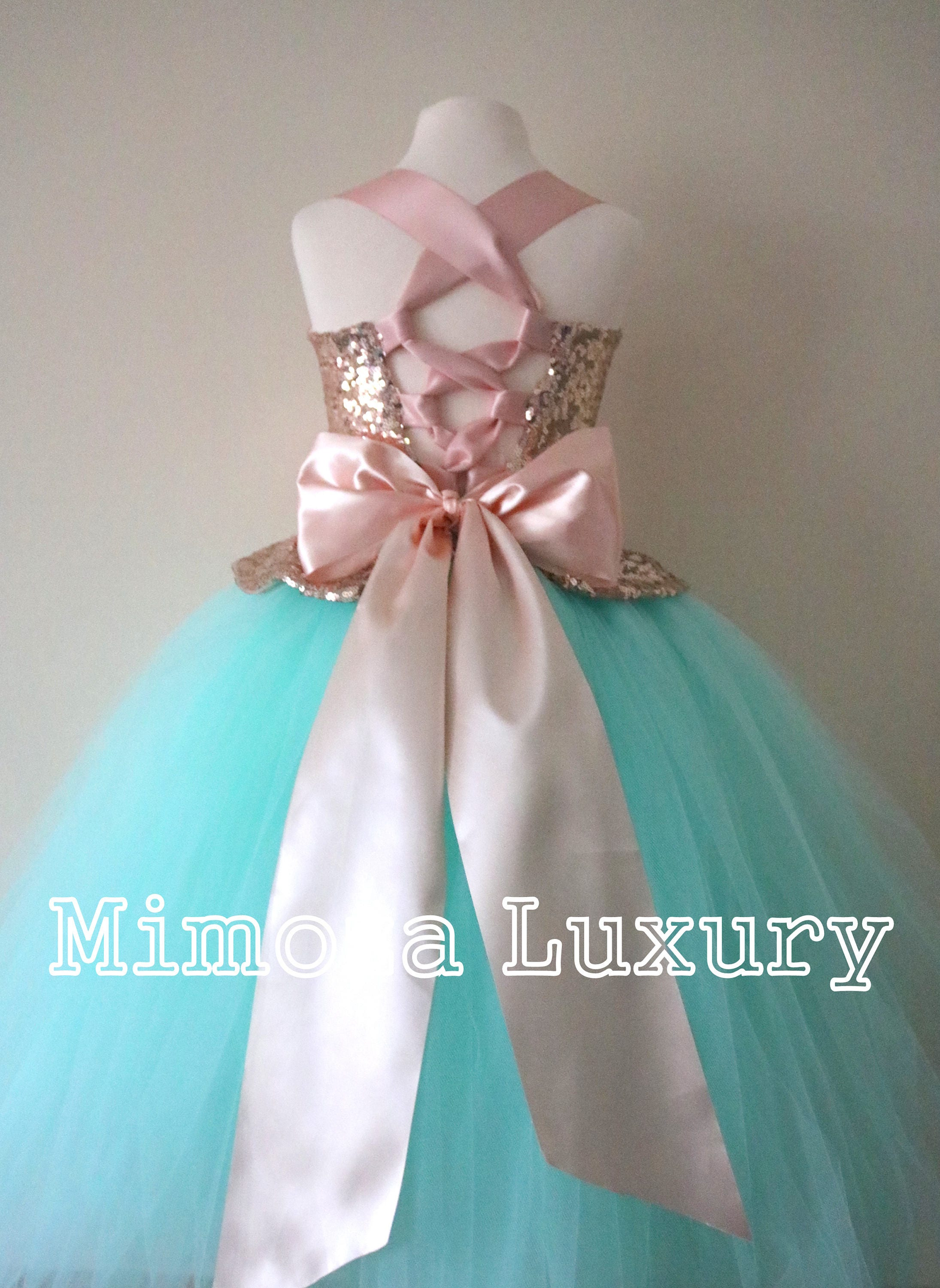 1bfe3fd67 Mint & Rose Gold Flower Girl Dress, mint bridesmaid dress, couture ...