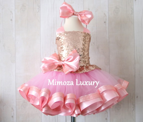 Luxury Rose Gold Sequin Birthday Outfit, rose gold girls birthday dress, baby girl tutu cupcake dress, 1st birthday tutu sequins dress
