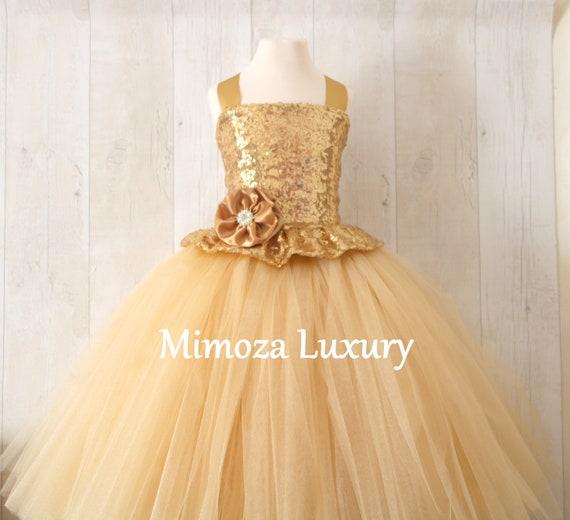 Gold Flower Girl Dress, gold bridesmaid dress, gold couture flower girl gown, bespoke girls dress, tulle princess dress, gold tutu dress